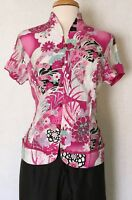 Traditional Chinese Women Short Sleeve Shirt Top with Mandarin Collar