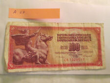 Yugoslavia  banknote 100 dinar collect or gift poor to good condition