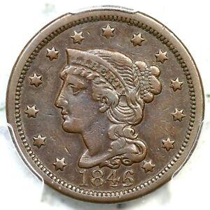 1846 N-12 PCGS VF 30 Tall Date Braided Hair Large Cent Coin 1c
