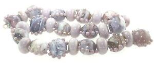 OliveStuart Handmade Lampwork Beads 28 purple lentil/round