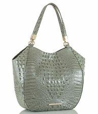 Brahmin Melbourne Marianna Croc Embossed Leather Large Tote Shoulder Bag Silver