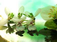 Clous d'oreilles boucles Cerise Menthe couleurs vert clair émaillé plaqué or
