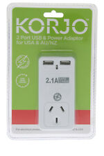 Korjo 2 Port USB Travel Adaptor For USA From Australia New Zealand