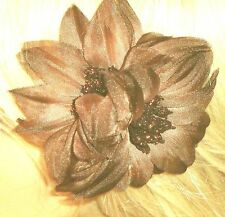 Hair Barrette Double Flower Tans Mesh Cloth Ponytail Brooch Accessory New B-4-22
