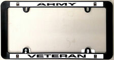 Army VETERAN Black Plastic License Plate Frame Tag Cover United States Military
