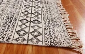 Handmade Block Printed Cotton Area Rugs Cotton Dhurrie Bohemian Carpet 2x3 4x6