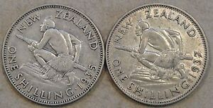 New Zealand Shilling's 1935 +37 Mid Grades As Pictured