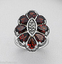 26mm Solid Sterling Silver Garnet & Swiss Marcasite Flower Cocktail Ring $250sz9
