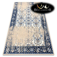 "NATURAL WOOL AGNELLA RUGS ""KER"" Tabria sand beige blue thick durable carpet"