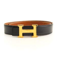 Hermes Constance Cintura pelle Nero Marrone H Fibbia Tonalità Oro 65 CM