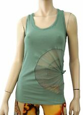 JEAN PAUL GAULTIER Green Cotton Jersey Mesh Trim Racerback Tank Top S NEW