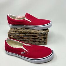 VANS Adult Unisex Loafer Flat Shoes Red White Classic Stretch Slip On 10 New