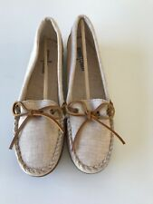 NEW MINNETONKA CANVAS MOCCASIN SHOES  WOMENS 9 NATURAL MOCS FREE SHIP