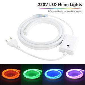 220V LED Strip Light Neon Lamp Flexible RGB Waterproof Rope Lights EU Adapter F