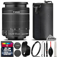 Canon EF-S 18-55mm f/3.5-5.6 IS STM Lens + UV Filter + Case - 32GB Class 10 Kit
