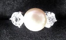 RING R7 Size 8 1/2 Crystal & White FRESHWATER PEARL