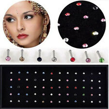 60PC Wholesale Lots Mixed Crystal Nose Ring Bone Studs Body Piercing Jewelry 18g