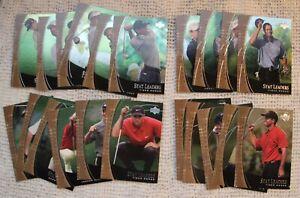 2001 Upper Deck Golf Stat Leaders set (Tiger Wood x4, Sergio Garcia, more)
