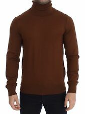 NEW DOLCE & GABBANA Brown Silk Cashmere Turtleneck Sweater Pullover IT46/ S