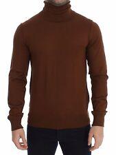 NWT $740 DOLCE & GABBANA Brown Silk Cashmere Turtleneck Sweater Pullover IT46/ S