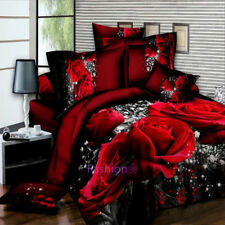 Quilt Doona Cover Set Queen Size Bed Duvet Covers Pillow Cases Big Red Rose