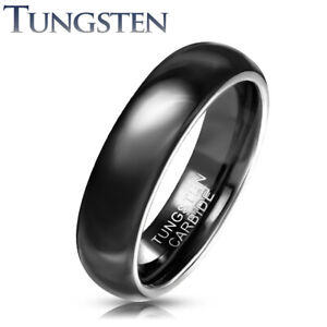 Mens Black TUNGSTEN CARBIDE Wedding Ring Band Polished Comfort Fit Couple (22JB)