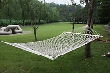 "59"" White Cotton Hammock Double Wide with Solid Wood Spreaders 2 Person 450lbs"