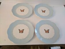 """Lenox Butterfly Meadow Pastel 8"""" Scalloped Rim China  Plates FOUR"""