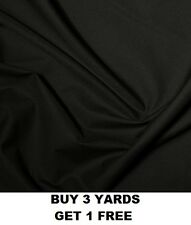 Premium Black Plain Polycotton Fabric Material Crafts Dress-making Poly Cotton