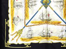 HERMES Black & Gold LA MARINE EN BOIS Nautical 90cm Silk Twill Scarf