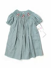 New Girl Silly Goose Green Gingham Penguin Smocked Holiday Dress Size 24 Months