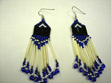 porcupine quill  earrings Blue /black  small pony bead ends Native American