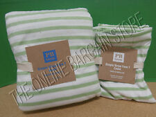 Pottery Barn Teen Simple Stripe Favorite Tee  Duvet Cover Twin green Pillowcases