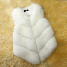 US Winter Women Faux Fox Fur Waistcoat Warm Gilet Outwear Slim Vest Jacket Coats