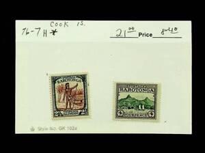 COOK ISLANDS RAROTONGA 2½d + 4d 2v MH STAMPS SC #76-77 CV $21