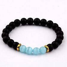 Fashion 8mm Natural Black Agate Cats Eye Gemstone Bead Healing Bangle Bracelet