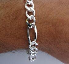 """8"""" Solid Italian 925 Sterling Silver 11mm wide FIGARO Link Chain Bracelet Men's"""