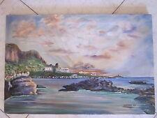 dipinto su tela a mano il mare il cielo le montagne e gli scogli misure 60x40cm