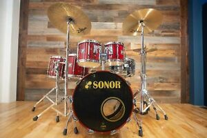 SONOR HILITE 5 PIECE DRUM KIT, RED MAPLE LACQUER WITH FULL HARDWARE PACK, SUPER