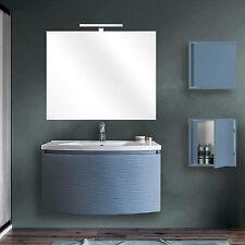 Mobile bagno moderno 80 cm blu oceano opaco con 2 pensili e specchio