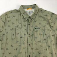 Field & Stream Button Up Shirt Men's 2XL Short Sleeve Green Fly Fishing Casual