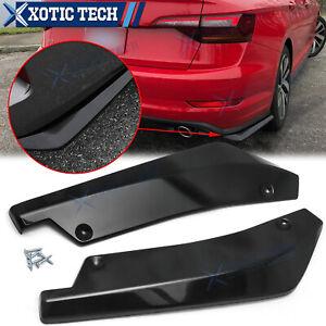 Gloss Black Rear Bumper Canard Splitter Spoiler Lip JDM For VW Jetta Passat Golf