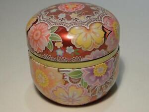 Beautiful Floral Kotobuki Tea Tin Made in Japan Storage Tin for Tea