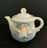 VINTAGE NAUTICAL SAILBOAT YACHT POTTERY LARGE HAND PAINTED TEAPOT
