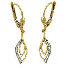 375 ECHT GOLD *** Ohrringe Ohrhänger Tropfen-Form, mit Zirkonia, 32 mm