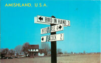 Postcard AMISHLAND, USA Dutch Country Road Signs Lancaster County, PA