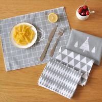 Tapis Table Vaisselle Mats Pads Euro Arbre Noël Imprimé Napperon Isolation Coton