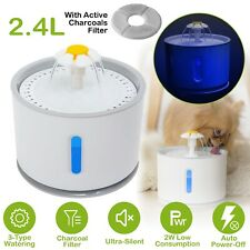 Automatic Electric 2.4L Pet Dog Cat Water Fountain Drinking Bowl Dish Dispenser