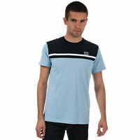 Mens Weekend Offender Black Dolphin Panel T-Shirt In Sky- Short Sleeve- Ribbed