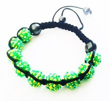 """USA"" Bracelet Rhinestone Crystal Ball Adjustable Handmade Shamballa Green AB"